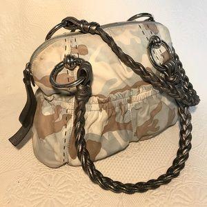 B. Makowsky Blue Camo Braided Leather Bag